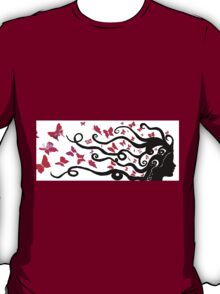 female black silhouette with pink butterflies T-Shirt