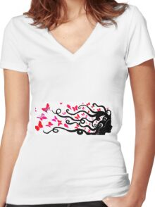 female black silhouette with pink butterflies Women's Fitted V-Neck T-Shirt
