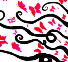 female black silhouette with pink butterflies Sticker