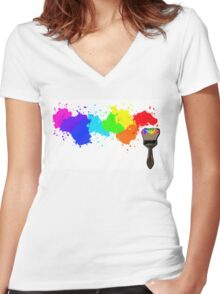 Splatter Women's Fitted V-Neck T-Shirt
