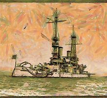 A digital painting of the Battleship. U. S. S. Oregon by Dennis Melling