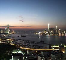Hong Kong Victoria Bay Skyline At  Twilight by umaira