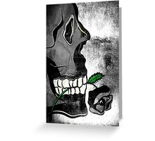 Skull with Black Rose Greeting Card