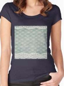 teal,rustic,worn,retro,pattern,white,lace,pearls,shabby chic,vintage,grunge Women's Fitted Scoop T-Shirt