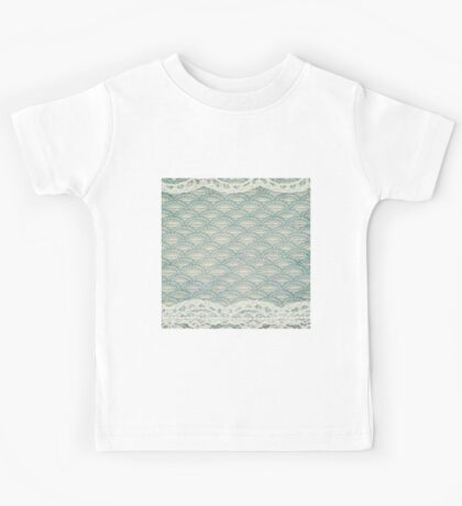 teal,rustic,worn,retro,pattern,white,lace,pearls,shabby chic,vintage,grunge Kids Tee