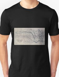 0402 Railroad Maps Union Pacific Rail Road map of a portion of Nebraska Territory showing surveys and location of lines by Peter A Dey C Unisex T-Shirt