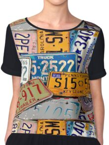 License Plate Poster Chiffon Top