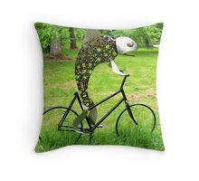 Fish Riding Bicycle Throw Pillow