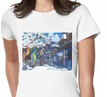 Under the Cherry Blossoms, Spring Womens Fitted T-Shirt