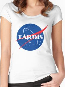 Tardis Nasa logo Doctor Who Women's Fitted Scoop T-Shirt