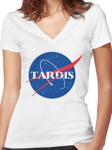 Tardis Nasa logo Doctor Who Women's Fitted V-Neck T-Shirt