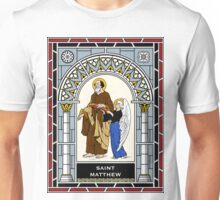 ST MATHEW THE APOSTLE WITH ANGEL under STAINED GLASS Unisex T-Shirt
