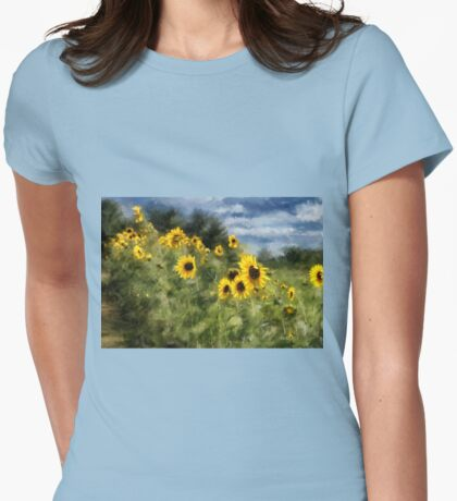 Sunflowers Bowing And Waving Womens Fitted T-Shirt