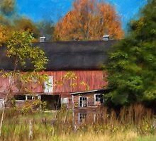Red Barn In October by Lois  Bryan