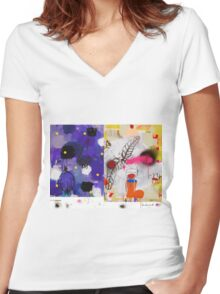 Abstract talk 007 Women's Fitted V-Neck T-Shirt