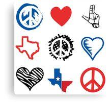 Peace Love and Texas Canvas Print