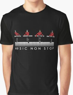 PIXEL8 | Music Non Stop | Red Graphic T-Shirt