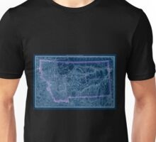 0138 Railroad Maps Indexed county map of Montana with a new and original compilation and index designating all post office towns and railroad Inverted Unisex T-Shirt