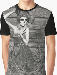 Santa Muerte halloween costume. Witch woman and black cat witch death make-up. Graphic T-Shirt