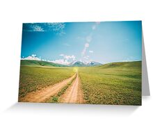 Beautiful sunset and road into the mountains. Mongolian landscape. Greeting Card