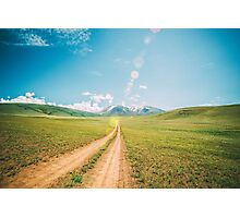 Beautiful sunset and road into the mountains. Mongolian landscape. Photographic Print