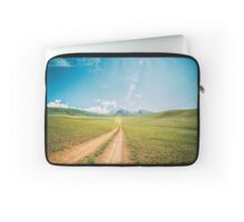 Beautiful sunset and road into the mountains. Mongolian landscape. Laptop Sleeve