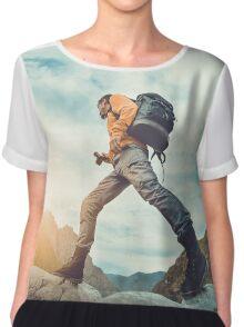 Traveler hipster man walking in front of beautiful mountain landscape. Chiffon Top
