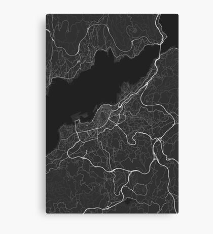 Vigo, Spain Map. (White on black) Canvas Print