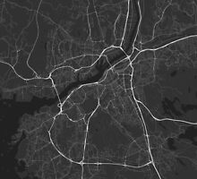 Gothenburg, Sweden Map. (White on black) by Graphical-Maps