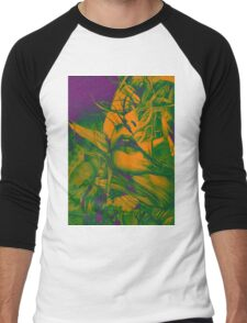 Burning flame illustration, abstract drawing of female portrait with hair in the wind. Men's Baseball ¾ T-Shirt