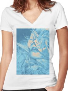Burning flame illustration, abstract drawing of female portrait with hair in the wind. Women's Fitted V-Neck T-Shirt
