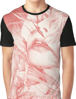 Burning flame illustration, abstract drawing of female portrait with hair in the wind. Graphic T-Shirt