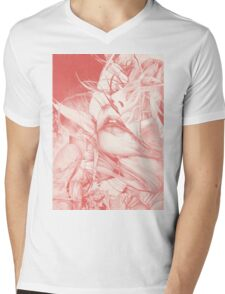 Burning flame illustration, abstract drawing of female portrait with hair in the wind. Mens V-Neck T-Shirt