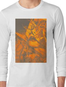 Burning flame illustration, abstract drawing of female portrait with hair in the wind. Long Sleeve T-Shirt