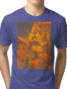Burning flame illustration, abstract drawing of female portrait with hair in the wind. Tri-blend T-Shirt