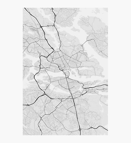 Stockholm, Sweden Map. (Black on white) Photographic Print
