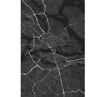 Stockholm, Sweden Map. (White on black) Photographic Print