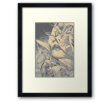 Burning flame illustration, abstract drawing of female portrait with hair in the wind. Framed Print
