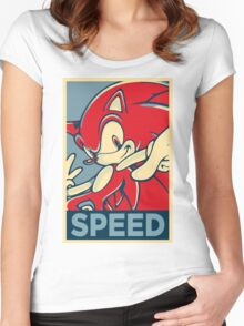 Sonic the Hedgehog V2 (Obama Hope Poster Parody) Women's Fitted Scoop T-Shirt
