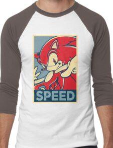Sonic the Hedgehog V2 (Obama Hope Poster Parody) Men's Baseball ¾ T-Shirt