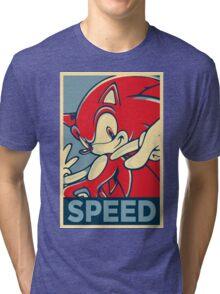 Sonic the Hedgehog V2 (Obama Hope Poster Parody) Tri-blend T-Shirt