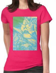 Burning flame illustration, abstract drawing of female portrait with hair in the wind. Womens Fitted T-Shirt