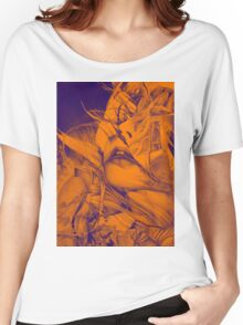 Burning flame illustration, abstract drawing of female portrait with hair in the wind. Women's Relaxed Fit T-Shirt