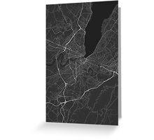 Geneva, Switzerland Map. (White on black) Greeting Card