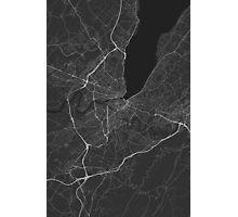 Geneva, Switzerland Map. (White on black) Photographic Print