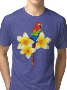 parrot sitting on a branch with tropical flowers Tri-blend T-Shirt