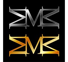 Alphabet M logo in gold and silver  Photographic Print