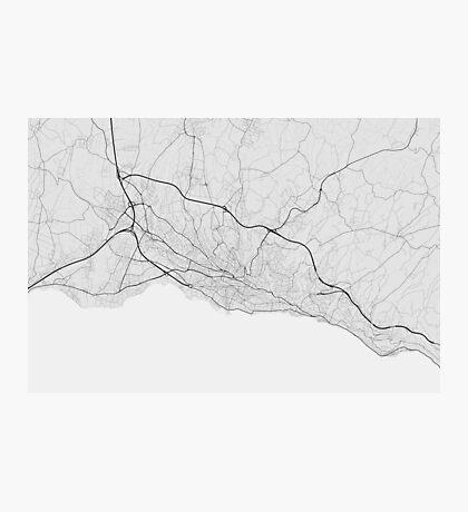 Lausanne, Switzerland Map. (Black on white) Photographic Print