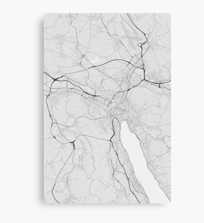 Zurich, Switzerland Map. (Black on white) Canvas Print