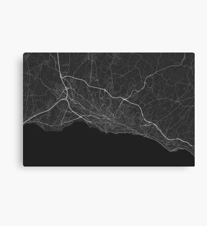 Lausanne, Switzerland Map. (White on black) Canvas Print